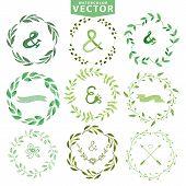 stock photo of laurel  - Set of watercolor wreaths and laurels - JPG
