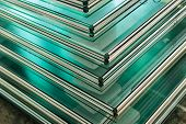 image of temperance  - Sheets of Factory manufacturing tempered clear float glass panels cut to size - JPG