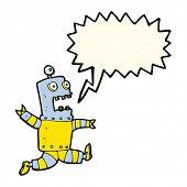 stock photo of terrifying  - cartoon terrified robot with speech bubble - JPG