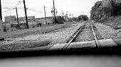 stock photo of train track  - Dramatic panoramic  - JPG