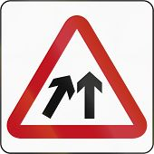 picture of merge  - Road sign in Brunei - JPG