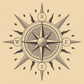 picture of wind-rose  - Oldstyle wind rose compass - JPG