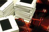 Pile Of Slides And Film Negatives