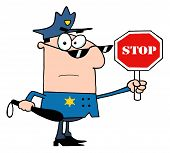 image of sherif  - Caucasian Police Officer Holding A Stop Sign And Club - JPG