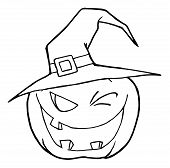 Jack O Lantern Wearing A Witch Hat Winking