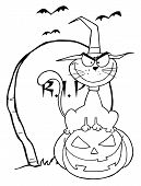 Outlined Halloween Cat on Pumpkin Near Tombstone