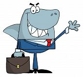 picture of loan-shark  - Smiled business shark waving a greeting with bag in hand - JPG