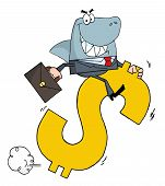stock photo of loan-shark  - Business Shark Businessman Riding On A Dollar Symbol - JPG