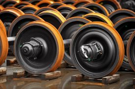 foto of train-wheel  - New train wheels on the factory production line - JPG