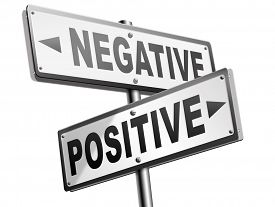 pic of think positive  - positive thinking or think negative positivity or negativity optimistic or pessimistic look at sunny side of life attitude road sign arrow - JPG