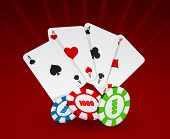 Vector illustration of cards and chips on red background