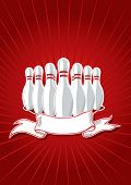 Illustration of 9 pins with banner on red. Vector in my portfolio