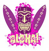 stock photo of tiki  - Vector illustration of tiki mask with surf boards - JPG