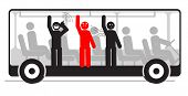 Vector illustration of angry passenger in bus with screaming and stinky people
