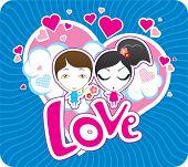 Vector Valentine postcard