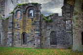 abbey ruins Villers la ville Belgium gothic buildings abandoned years ago spooky facades with face like features scary creepy haunted medieval place church building ghost house