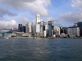 Hong Kong island viewed from water.