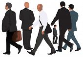 Men vector collection. One pair walking together and four single isolated people. Realistic color illustration. Business look.