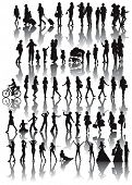 Over fifty black silhouettes of woman. Life situations from walking,travel, motherhood, marriage to