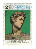 GRENADA - CIRCA 1975: A stamp printed in GRENADA dedicated artist Michelangelo di Lodovico Buonarrot