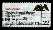 USA - CIRCA 1980: A stamp printed in USA shows image of the dedicated to the US Constitution circa 1980.
