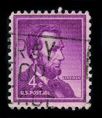 USA - CIRCA 1959: A stamp shows image portrait Abraham Lincoln served as the 16th President of the U