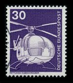 GERMANY - CIRCA 1980: A stamp shows image of the dedicated to the Helicopter is a type of rotorcraft