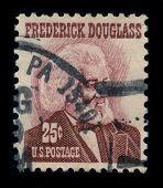 USA-CIRCA 1965: A stamp shows image portrait Frederick Douglass (born Frederick Augustus Washington