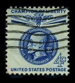 USA-CIRCA 1935: A stamp image portrait Tomas Garrigue Masaryk, sometimes called Thomas Masaryk in En