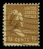 USA - CIRCA 1938: A stamp printed in USA shows portrait Martha Dandridge Custis Washington was the wife of George Washington, the first president of the United States, circa 1938.