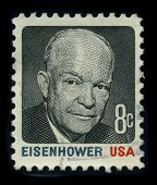 USA - CIRCA 1980: A stamp shows image portrait Dwight David