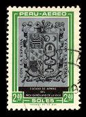 PERU - CIRCA 1980: A stamp dedicated to the Arms of the Garcilaso de la Vega (April 12, 1539 -1616), born Gomez Suarez de Figueroa, was a Spanish  historian and writer, circa 1980.