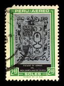 PERU - CIRCA 1980: A stamp dedicated to the Arms of the Garcilaso de la Vega (April 12, 1539 -1616),
