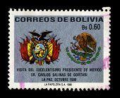BOLIVIA - CIRCA 1990: A stamp dedicated to the Visit of Mexican President Carlos Salinas in Bolivia, circa 1990.