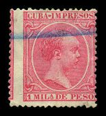 CUBA-CIRCA 1890:A stamp printed in CUBA shows image of the Alfonso XIII ( Alphonse Leon Ferdinand Mary James Isidor Pascal Anthony of Bourbon and Austria-Lorraine), King of Spain, circa 1890.