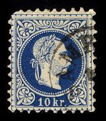 AUSTRIA-CIRCA 1867:A stamp printed in AUSTRIA shows image of Franz Joseph I or Francis Joseph I was Emperor of Austria, King of Bohemia, King of Croatia and Apostolic King of Hungary, circa 1867.