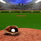 Baseball Stadium With Glove And Ball With Copy Space poster