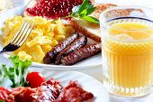 stock photo of scrambled eggs  - breakfast plate - JPG