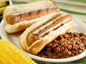 picture of hot dogs  - hot dogs and baked beans - JPG