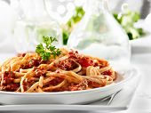 stock photo of pasta  - spaghetti pasta with tomato beef sauce - JPG