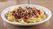 Italian spaghetti dinner wide aspect.