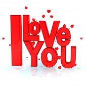 illustration 3D of the message I LOVE YOU