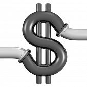 Illustration of 3d piping connected to a dollar sign