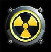 Illustration of a shiny yellow radiation button icon