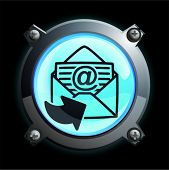 Illustration of a glowing blue sending Email button