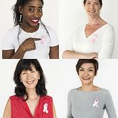 Group of Diverse People with Pink Represent Ribbon Breast Cancer Awareness Studio Collage poster