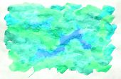 Colorful Blue Green Turquoise Watercolor Background For Wallpaper. Aquarelle Bright Color Illustrati poster