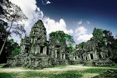 Ruins of Asian Ankor temple in Cambodia