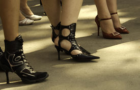 foto of streetwalkers  - sexy shoes focus point on center of photo - JPG