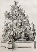 Parnassus representation, old illustration of a bronze model. After Titon du Tillet, published on Ma